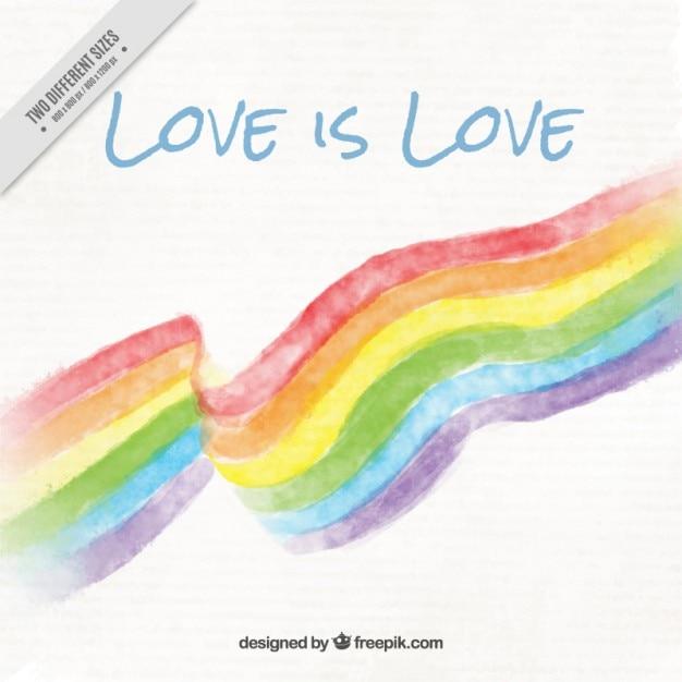 Акварели гордость день флаг с любовью фраза фоне Бесплатные векторы