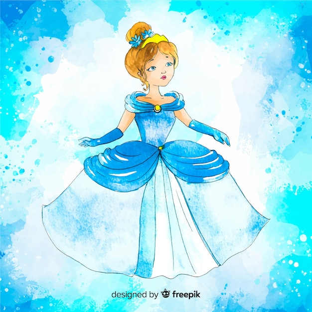 Watercolor princess drawing background Free Vector
