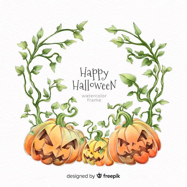 Watercolor pumpkin halloween frame Premium Vector