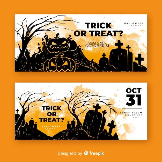 Zucche dell'acquerello banner di halloween Vettore gratuito