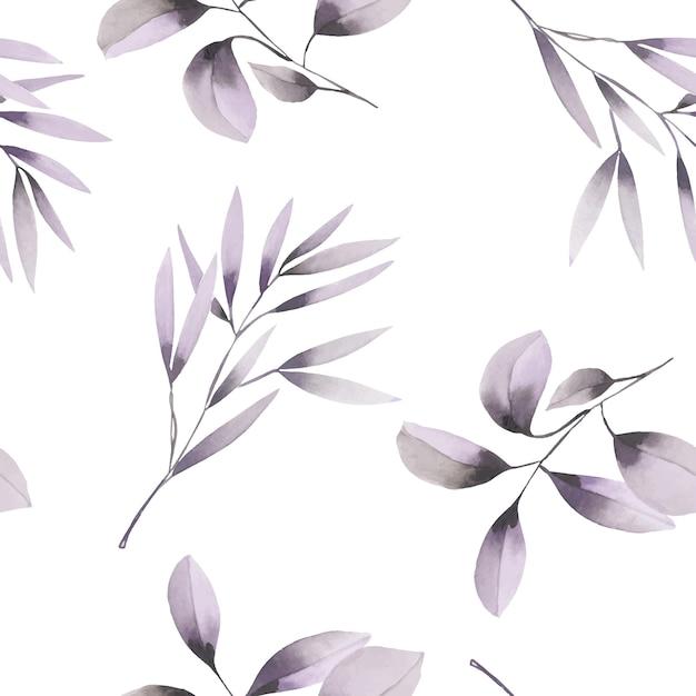 Watercolor purple branches seamless pattern Premium Vector