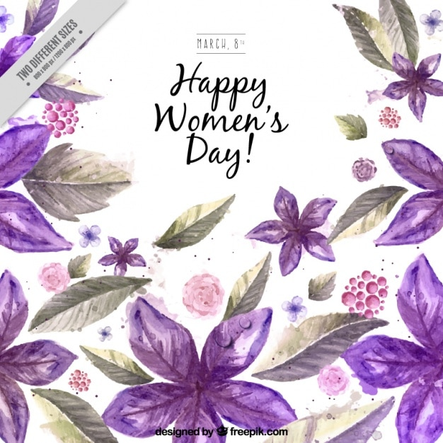 Watercolor purple flowers woman\'s day\ background