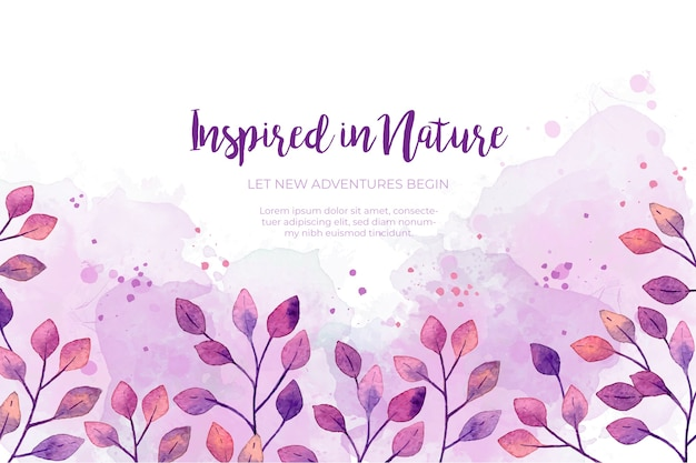 Watercolor purple leaves frame background Free Vector
