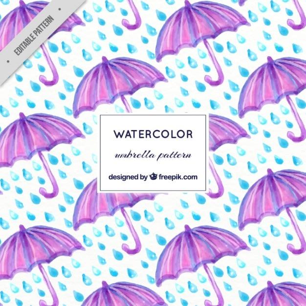 Watercolor purple umbrella and rain pattern Free Vector