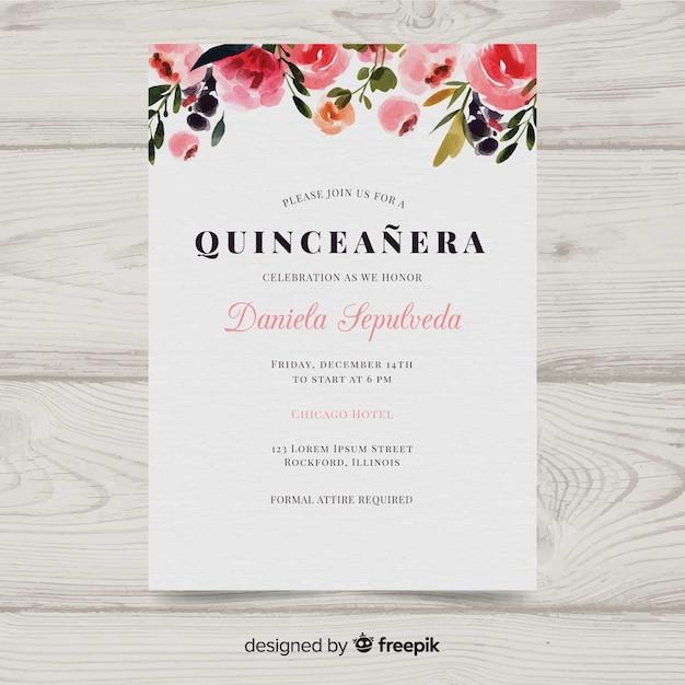 Watercolor quinceañera invitation Free Vector
