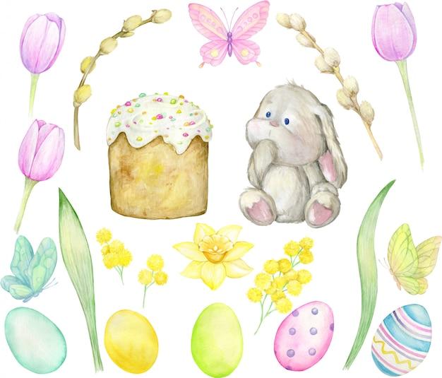 Акварель. кролик, кулич, ива, цветы, яйца, бабочки. Premium векторы