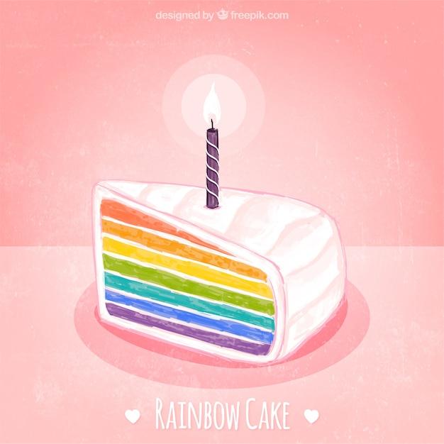 Watercolor Rainbow Cake Vector Free Download