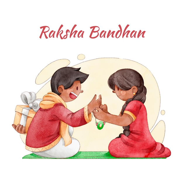 Watercolor raksha bandhan concept Free Vector