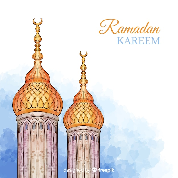 Watercolor ramadán background Free Vector