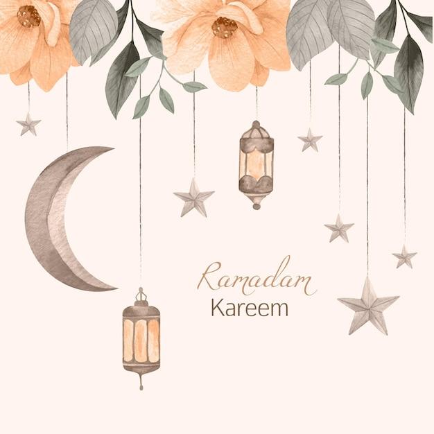 Watercolor ramadan kareem illustration Free Vector