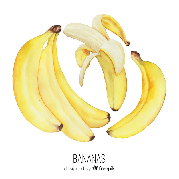 Watercolor realistic banana background Free Vector