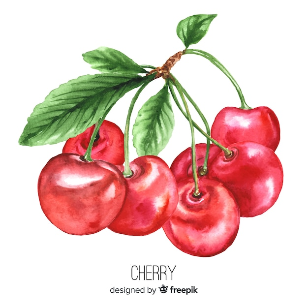 Watercolor realistic cherries background Free Vector