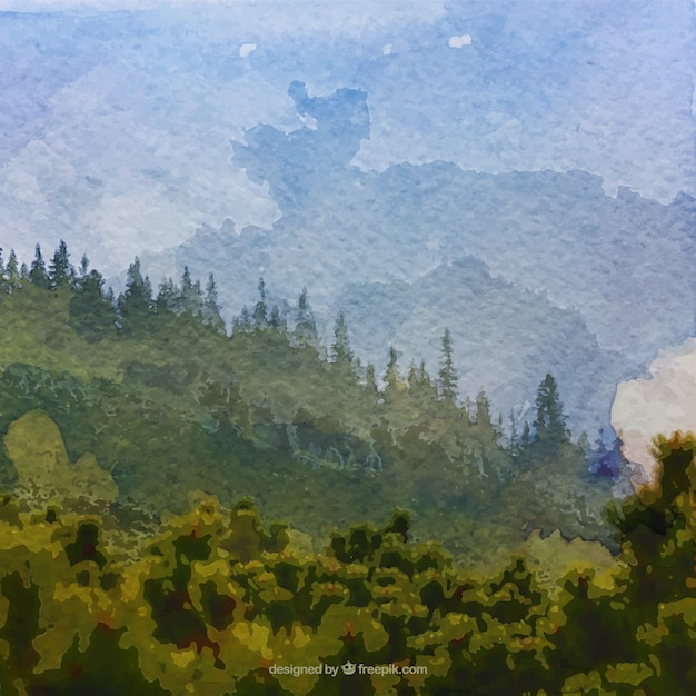 watercolor realistic landscape background vector