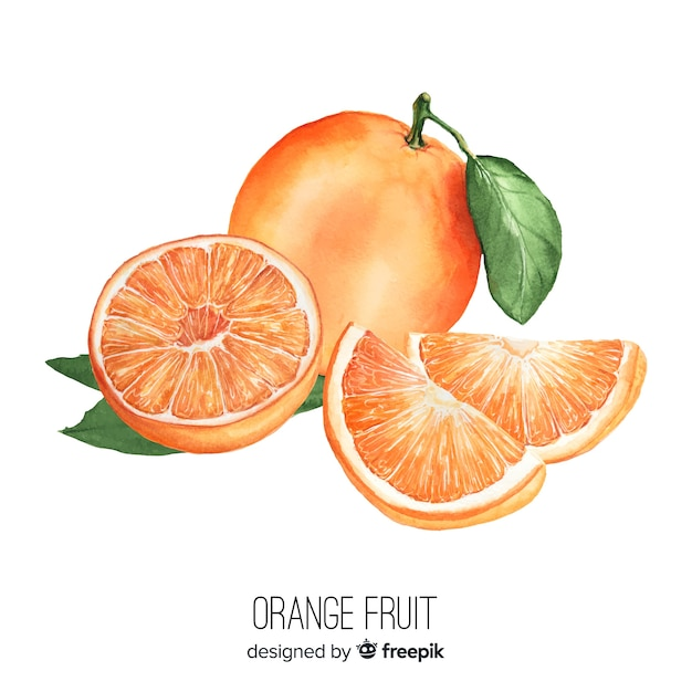 Watercolor realistic orange background Free Vector