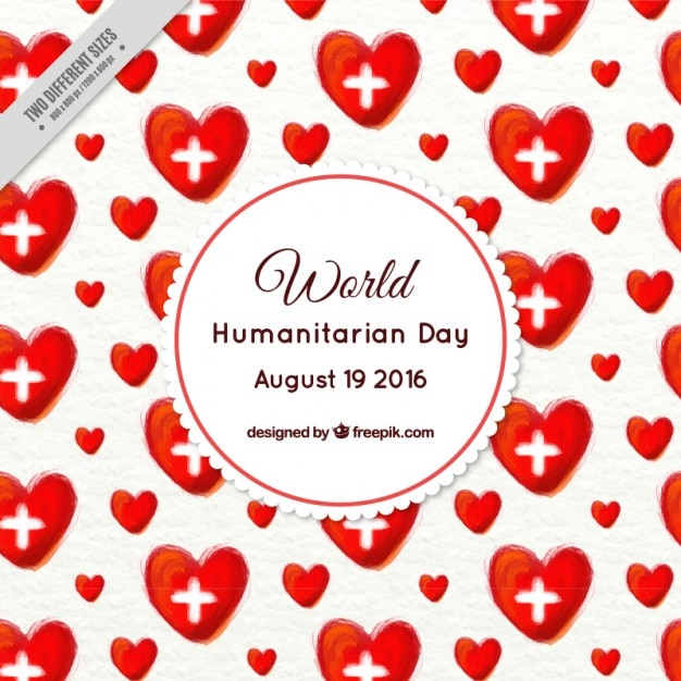 Watercolor red hearts humanitarian day background