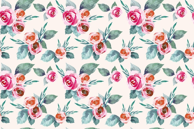 Watercolor red and orange flowers seamless pattern Free Vector