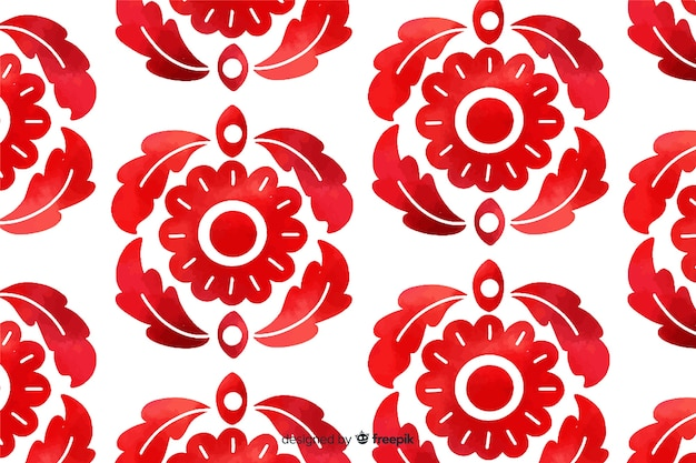 Watercolor red ornamental flower background Free Vector