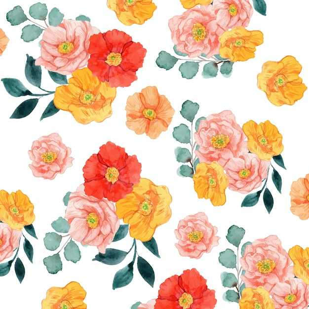 Watercolor red yellow and pink poppies floral seamless pattern Premium Vector