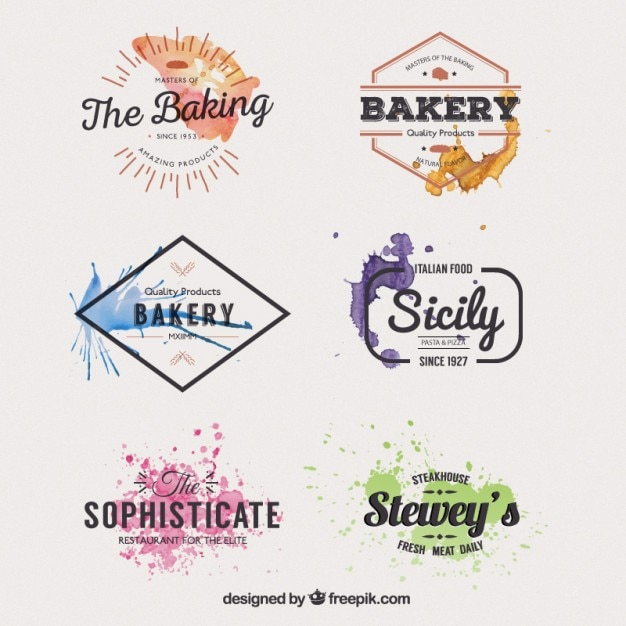 Watercolor restaurant badges Vector | Free Download