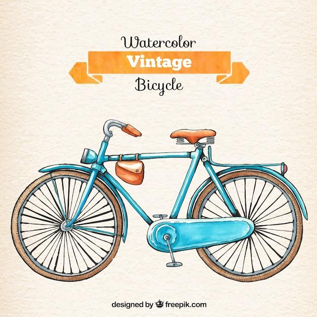 Watercolor retro bicycle Free Vector