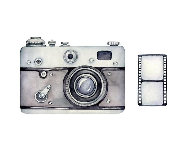 Watercolor retro camera and photo Premium Vector
