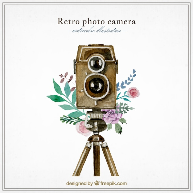 Watercolor retro photography camera Free Vector