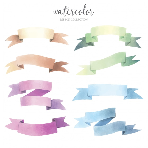 Watercolor Ribbon Collection Free Vector
