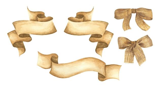 수채화 리본과 삼베 활 세트. 손으로 그린 줄무늬 또는 텍스트 배너. 수채화 디자인 요소. 프리미엄 벡터