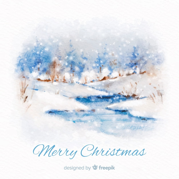 Watercolor river christmas background Free Vector