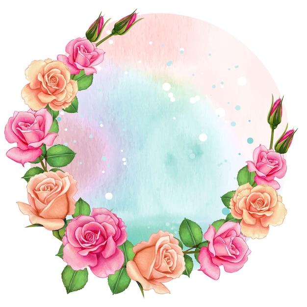 バラの水彩画のロマンチックなフレーム Premiumベクター