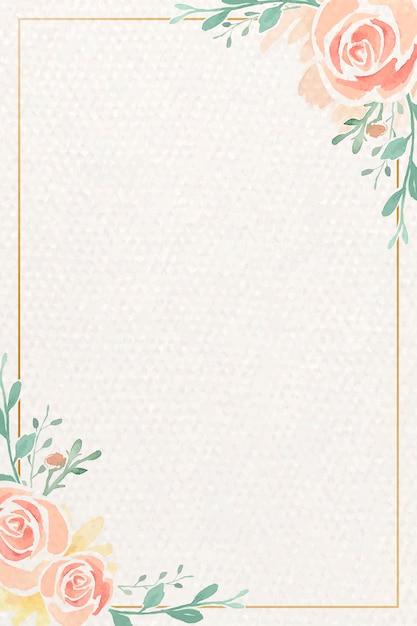 Watercolor rose frame Free Vector