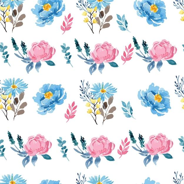 水彩ローズピンクとブルー牡丹花柄シームレスパターン Premiumベクター