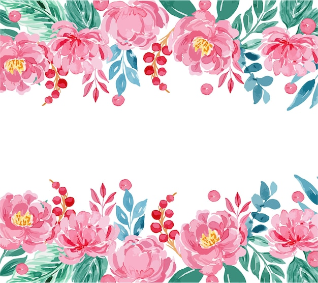 Watercolor rose pink peony floral border frame template Premium Vector