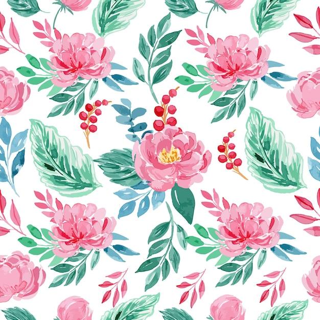 Watercolor rose pink peony floral seamless pattern Premium Vector