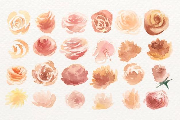 Watercolor rose set Free Vector