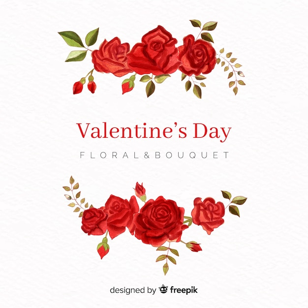 Watercolor rose valentine background Free Vector
