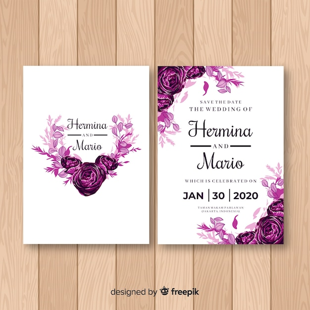Watercolor rose wedding invitation template Free Vector