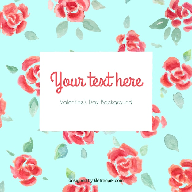 Watercolor roses background for valentines day Free Vector