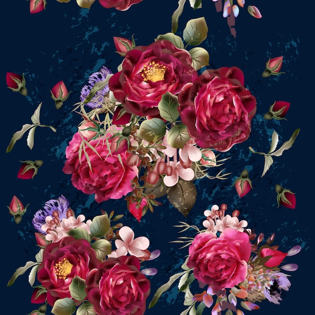 Watercolor roses background Premium Vector