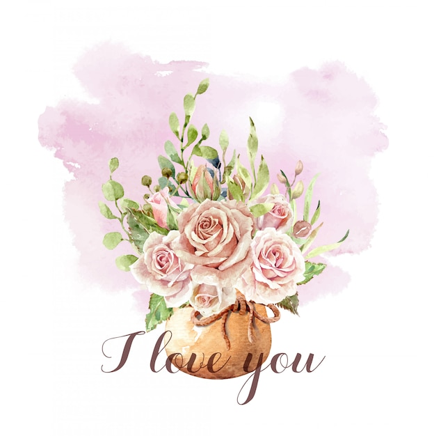 Watercolor roses bouquet in pot with rope ribbon. Premium Vector