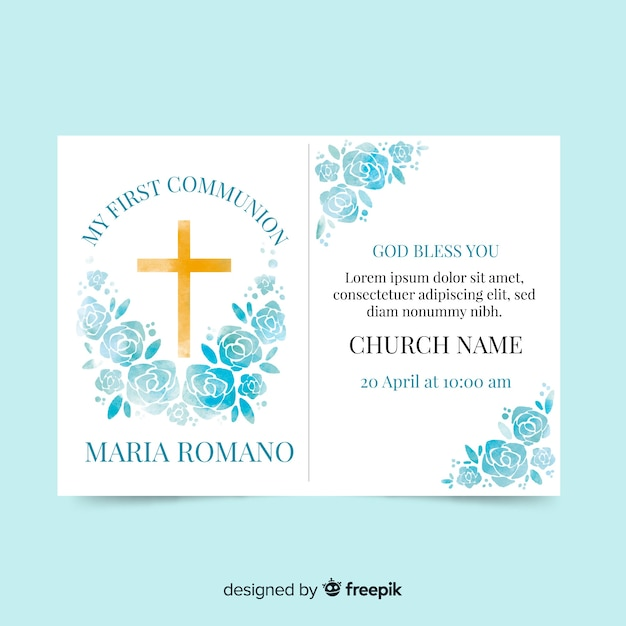 Watercolor roses first communion invitation Free Vector
