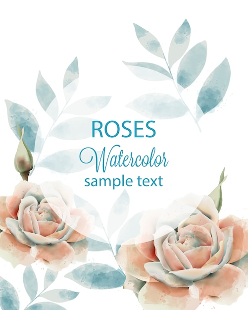 Watercolor roses and leaves card with place for text. blue and beige color Free Vector