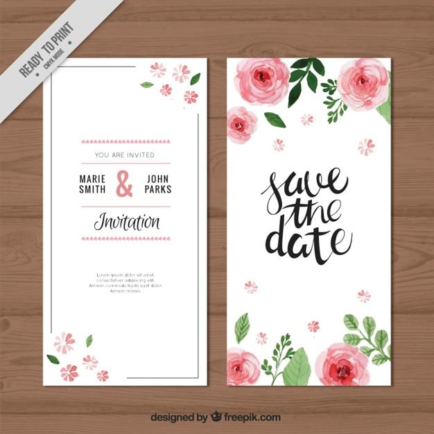 watercolor roses wedding invitation vector free download