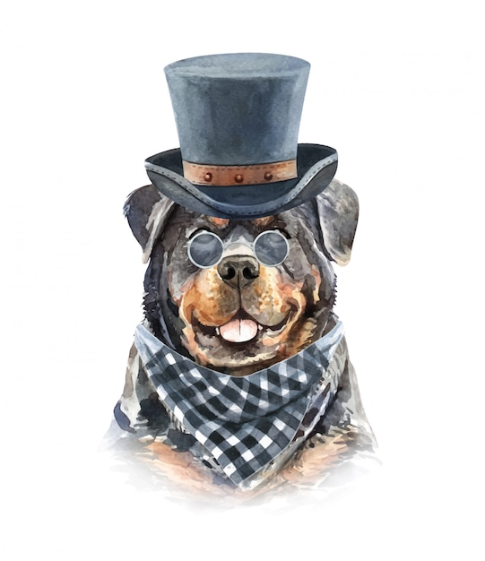 Watercolor rottweiler with sunglasses and top hat. Premium Vector