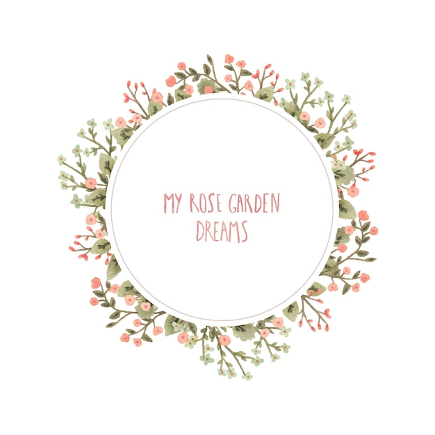 Watercolor round frame with flowers in a romantic style. Premium Vector