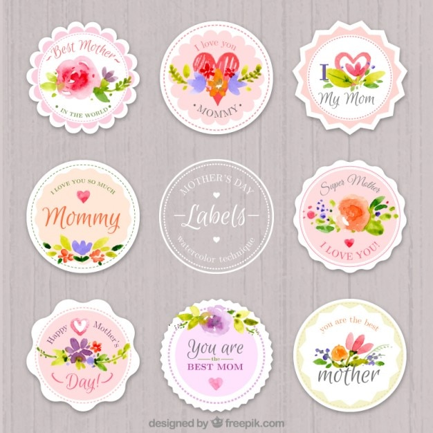 Watercolor rounded mother's day labels Free Vector