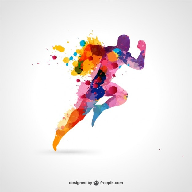 Watercolor running man Free Vector