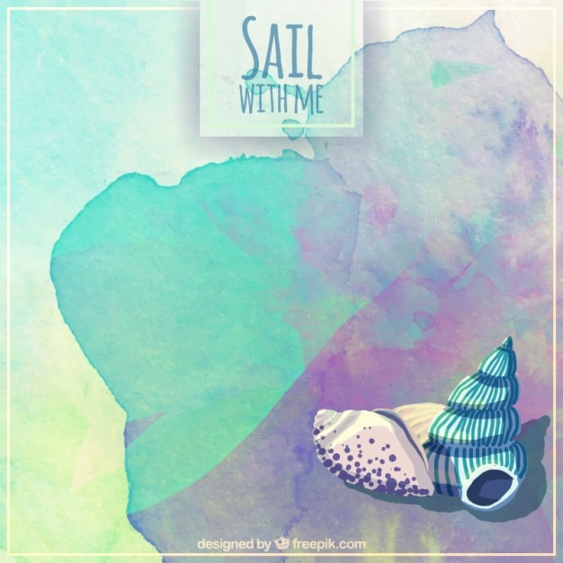 Watercolor sail background with shells Free Vector