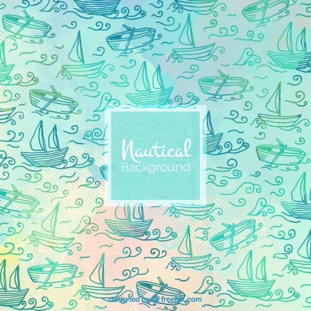 Watercolor sailing background with sketches nautical elements Free Vector