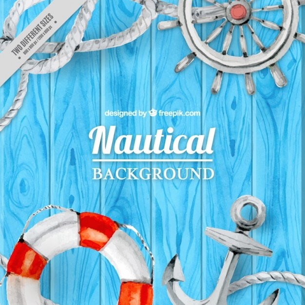 Watercolor sailor elements on a wooden surface background Free Vector